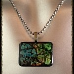rectangle necklace green blues browns