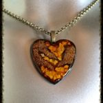 Gold & Brown Zebra Heart with 24 in vintage gold necklace