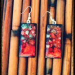Red and Grey 2 inch earrings