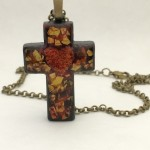 rustic cross with eggshell heart